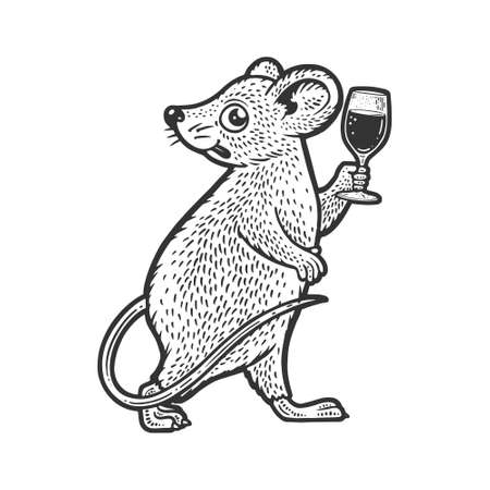 cartoon mouse with a glass of wine sketch engraving vector illustration. T-shirt apparel print design. Scratch board imitation. Black and white hand drawn image. 向量圖像