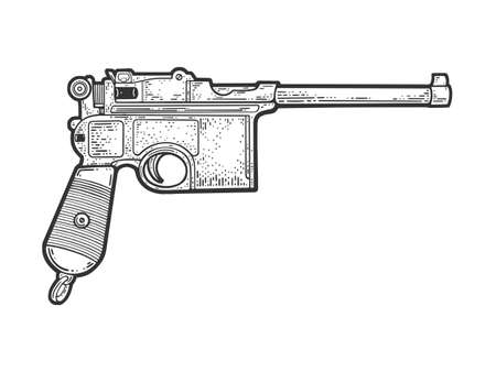 Mauser pistol historical sketch engraving vector illustration. T-shirt apparel print design. Scratch board imitation. Black and white hand drawn image.