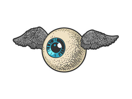 flying eye eyeball color sketch engraving vector illustration. T-shirt apparel print design. Scratch board imitation. Black and white hand drawn image.