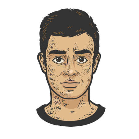 Man face classic hairstyle color sketch engraving vector illustration. T-shirt apparel print design. Scratch board imitation. Black and white hand drawn image.