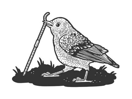 Bird sparrow pulls the worm out of the ground sketch engraving vector illustration. T-shirt apparel print design. Scratch board imitation. Black and white hand drawn image.