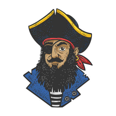 Cartoon pirate color sketch engraving vector illustration. T-shirt apparel print design. Scratch board imitation. Black and white hand drawn image. 向量圖像