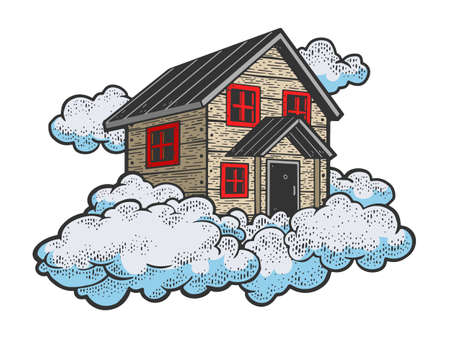 flying house in the clouds color sketch engraving vector illustration. T-shirt apparel print design. Scratch board imitation. Black and white hand drawn image. 向量圖像