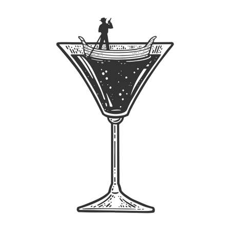 Gondola boat in martini cocktail glass sketch engraving vector illustration. T-shirt apparel print design. Scratch board imitation. Black and white hand drawn image.