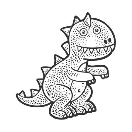 Stuffed soft toy dinosaur sketch engraving vector illustration. T-shirt apparel print design. Scratch board imitation. Black and white hand drawn image.
