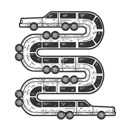 long limousine car like a snake sketch engraving vector illustration. T-shirt apparel print design. Scratch board imitation. Black and white hand drawn image. 向量圖像
