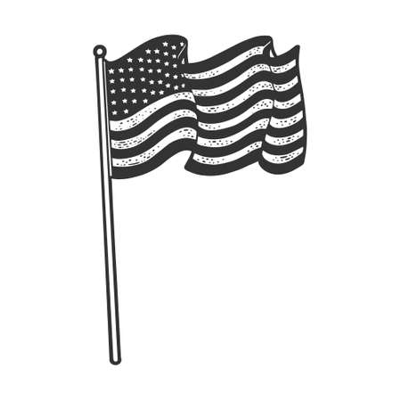 flag of the United States of America sketch engraving vector illustration. T-shirt apparel print design. Scratch board imitation. Black and white hand drawn image. 向量圖像