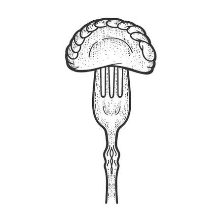 dumpling on fork sketch engraving vector illustration. T-shirt apparel print design. Scratch board imitation. Black and white hand drawn image. Ilustracja