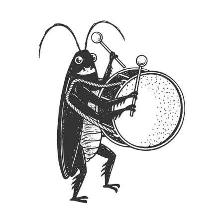 Cartoon cockroach orchestra playing the large drum sketch engraving vector illustration. T-shirt apparel print design. Scratch board imitation. Black and white hand drawn image.
