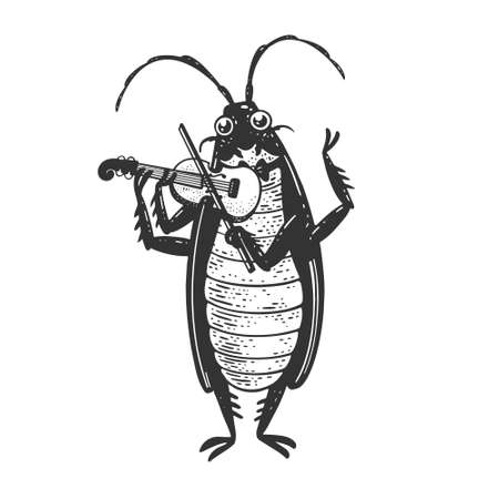Cartoon cockroach orchestra playing the violin sketch engraving vector illustration. T-shirt apparel print design. Scratch board imitation. Black and white hand drawn image. Ilustracja