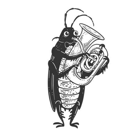 Cartoon cockroach orchestra playing the huge brass tube trumpet sketch engraving vector illustration. T-shirt apparel print design. Scratch board imitation. Black and white hand drawn image.