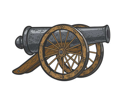 Vintage cannon weapon color sketch engraving vector illustration. T-shirt apparel print design. Scratch board imitation. Black and white hand drawn image. Ilustracja