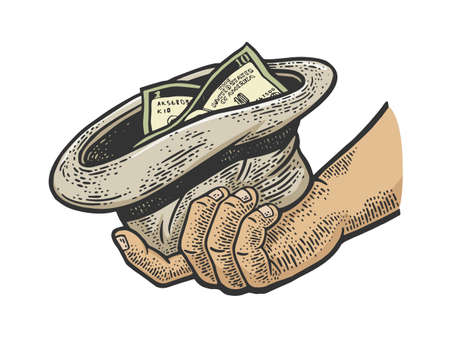 beggar hand with hat and money color sketch engraving vector illustration. T-shirt apparel print design. Scratch board imitation. Black and white hand drawn image. Ilustracja