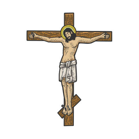 jesus christ crucifixion on cross religious symbol of christianity color sketch engraving vector illustration. T-shirt apparel print design. Scratch board imitation. Black and white hand drawn image.
