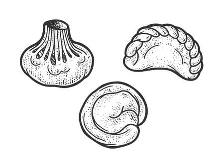 set of dumplings sketch engraving vector illustration. T-shirt apparel print design. Scratch board imitation. Black and white hand drawn image. Ilustracja