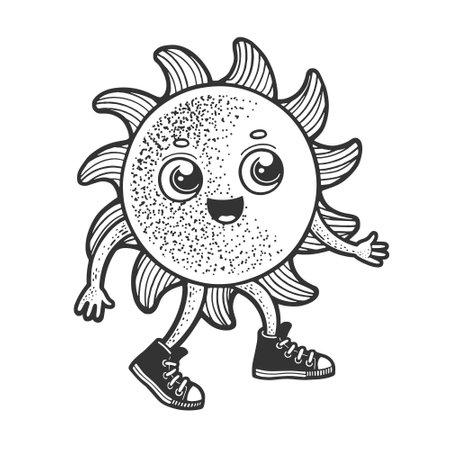 Cartoon sun walking sketch engraving vector illustration. T-shirt apparel print design. Scratch board imitation. Black and white hand drawn image. Ilustracja