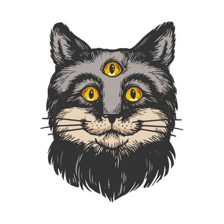 Cat with three eyes color sketch engraving vector illustration. Scratch board style imitation. Hand drawn image.