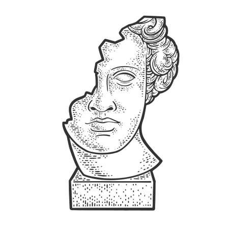 broken head of statue sculpture sketch engraving vector illustration. T-shirt apparel print design. Scratch board imitation. Black and white hand drawn image. Vector Illustration