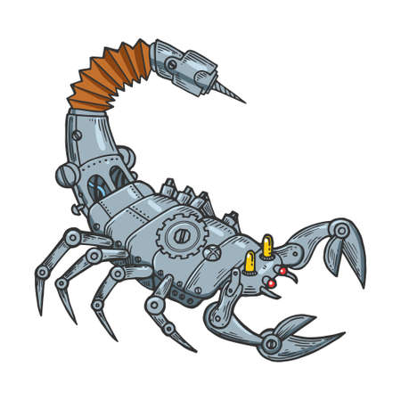 Mechanical scorpio animal line art color sketch engraving vector illustration. T-shirt apparel print design. Scratch board imitation. Black and white hand drawn image.