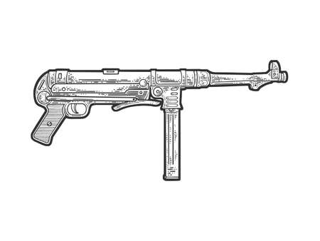 submachine gun line art sketch engraving vector illustration. T-shirt apparel print design. Scratch board imitation. Black and white hand drawn image.
