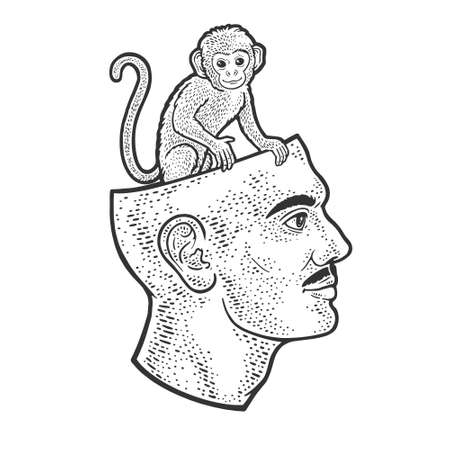 monkey sitting in human head line art sketch engraving vector illustration. T-shirt apparel print design. Scratch board imitation. Black and white hand drawn image.