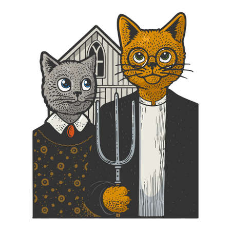 American Gothic cats color line art sketch engraving vector illustration. T-shirt apparel print design. Scratch board imitation. Black and white hand drawn image.