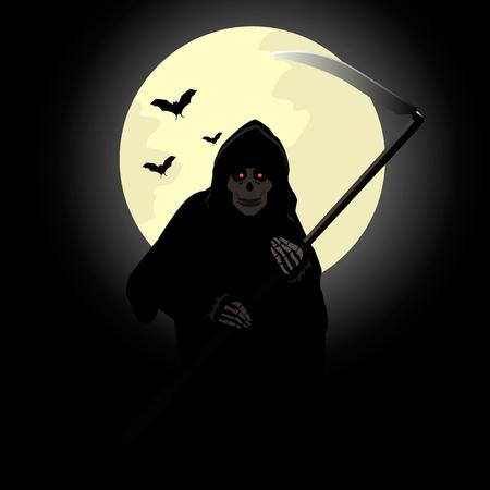 scythe: Stock vector death with a scythe on the background of the moon. Vectores