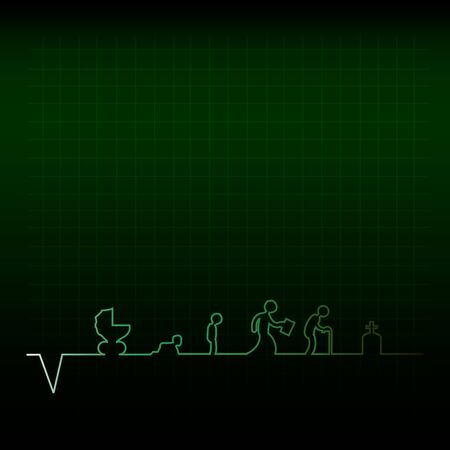 pulse trace: Vector illustration of cardiogram of human life. Illustration