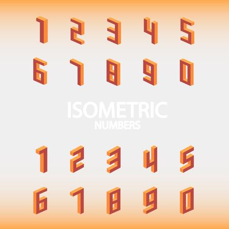 Set of isometric numbers orange. Illustration