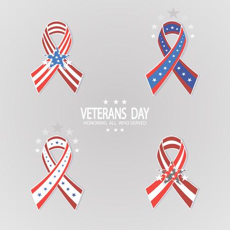 Set of ribbons for Veterans Day. 11th November, patriotism, holiday, war, peace, happiness, pride, America, USA, parade.