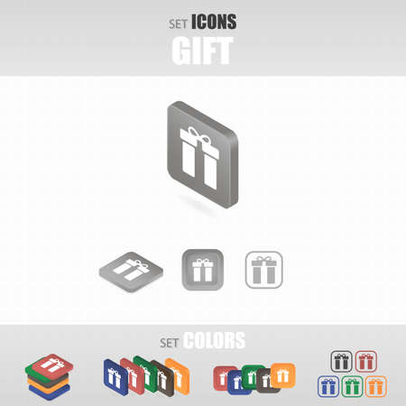 donative: Set of icons. Several types of icons. Different color options. Vector illustration.