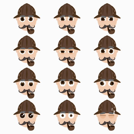 undercover agent: Set of cute investigator emoticons. Vector illustration.