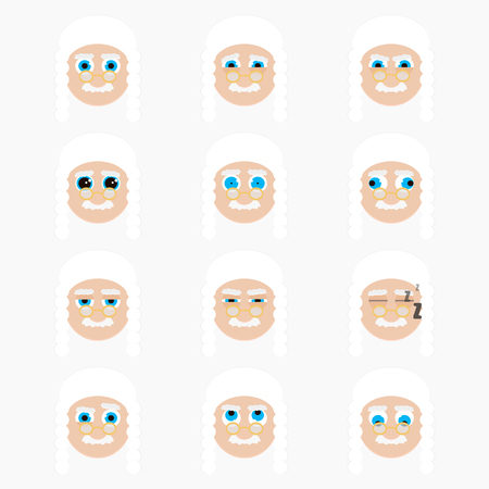 wig: Set of cute judge emoticons. Vector illustration. Illustration