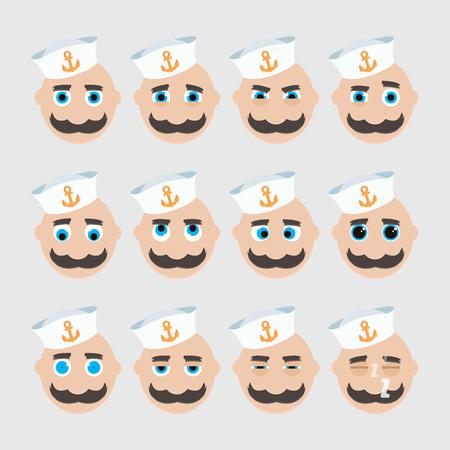 mariner: Set of cute sailor emoticons. Vector illustration.
