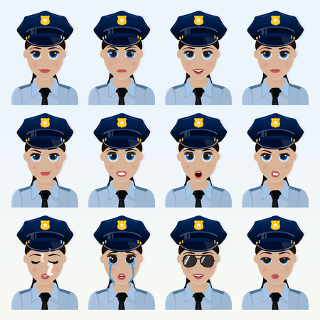 Set of cute police officer woman emoticons. Various emotions of the character. Set of avatar icons. Vector illustration.