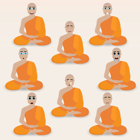 nirvana: Set of cute monk emoticons. Various emotions of the character. Set of avatar icons. Vector illustration.