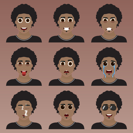 macho: Set of cute african american man emoticons. Various emotions of the character. Set of avatar icons. Vector illustration.