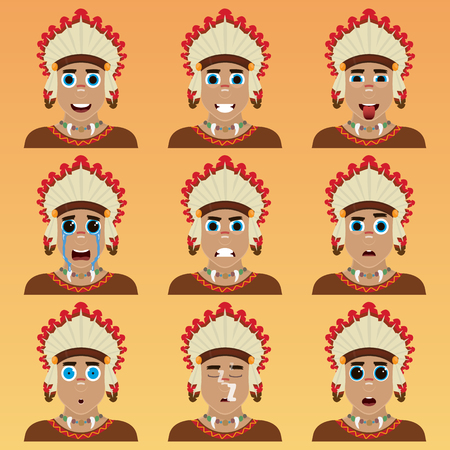 Set of cute american indian emoticons. Various emotions of the character. Set of avatar icons. Vector illustration. Ilustração