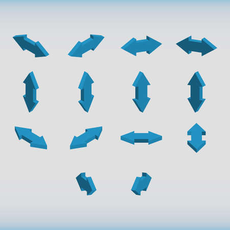 double headed: Set of isometric arrows blue color. Double-headed arrows. Vector illustration.