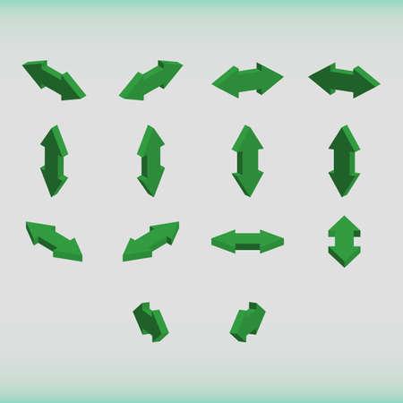 double headed: Set of isometric arrows green color. Double-headed arrows. Vector illustration. Illustration