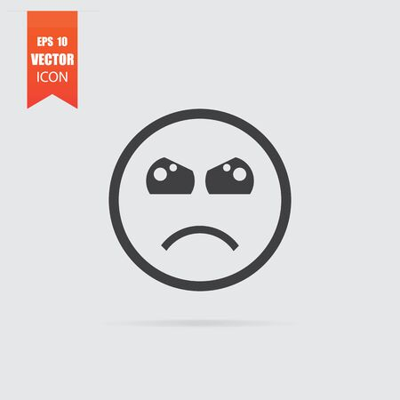 Angry emoticon icon in flat style isolated on grey background. For your design, Vector illustration.