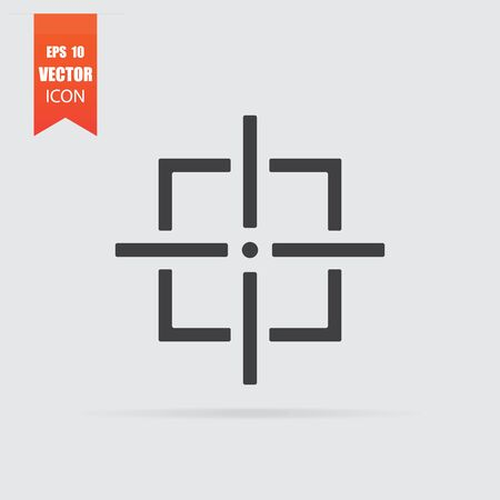 Aim icon in flat style isolated on grey background. For your design, Vector illustration.