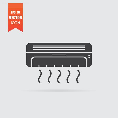 Air conditioning icon in flat style isolated on grey background. For your design, Vector illustration.