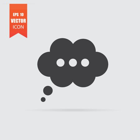 Speech bubble icon in flat style isolated on grey background. For your design, Vector illustration.