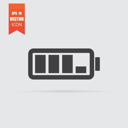 Battery icon in flat style isolated on grey background. For your design, Vector illustration. Archivio Fotografico - 129135206