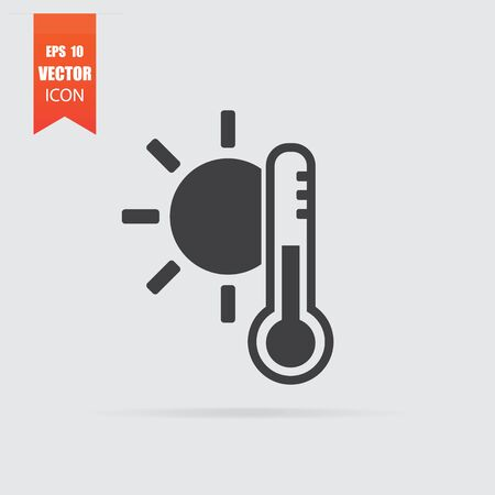 Sunny weather icon in flat style isolated on grey background. For your design, Vector illustration.