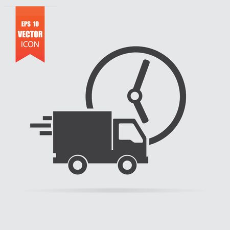 Fast delivery icon in flat style isolated on grey background. For your design, Vector illustration.
