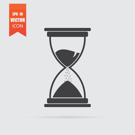 Hourglass icon in flat style isolated on grey background. For your design, Vector illustration.