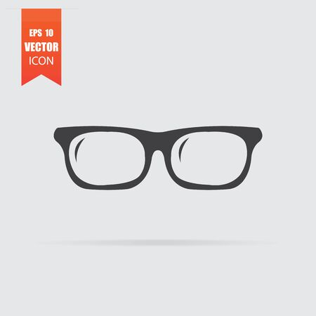 Glasses icon in flat style isolated on grey background. For your design, Vector illustration.