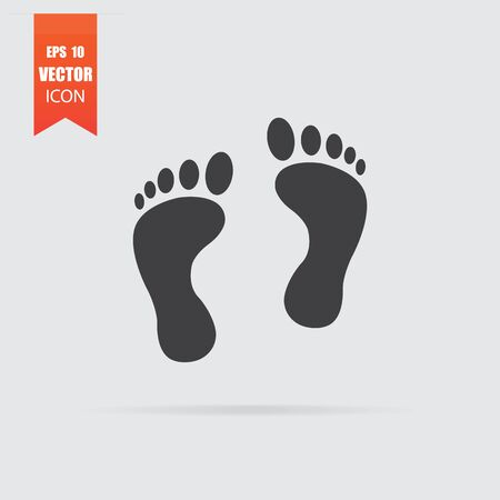 Footprint icon in flat style isolated on grey background. For your design, Vector illustration.